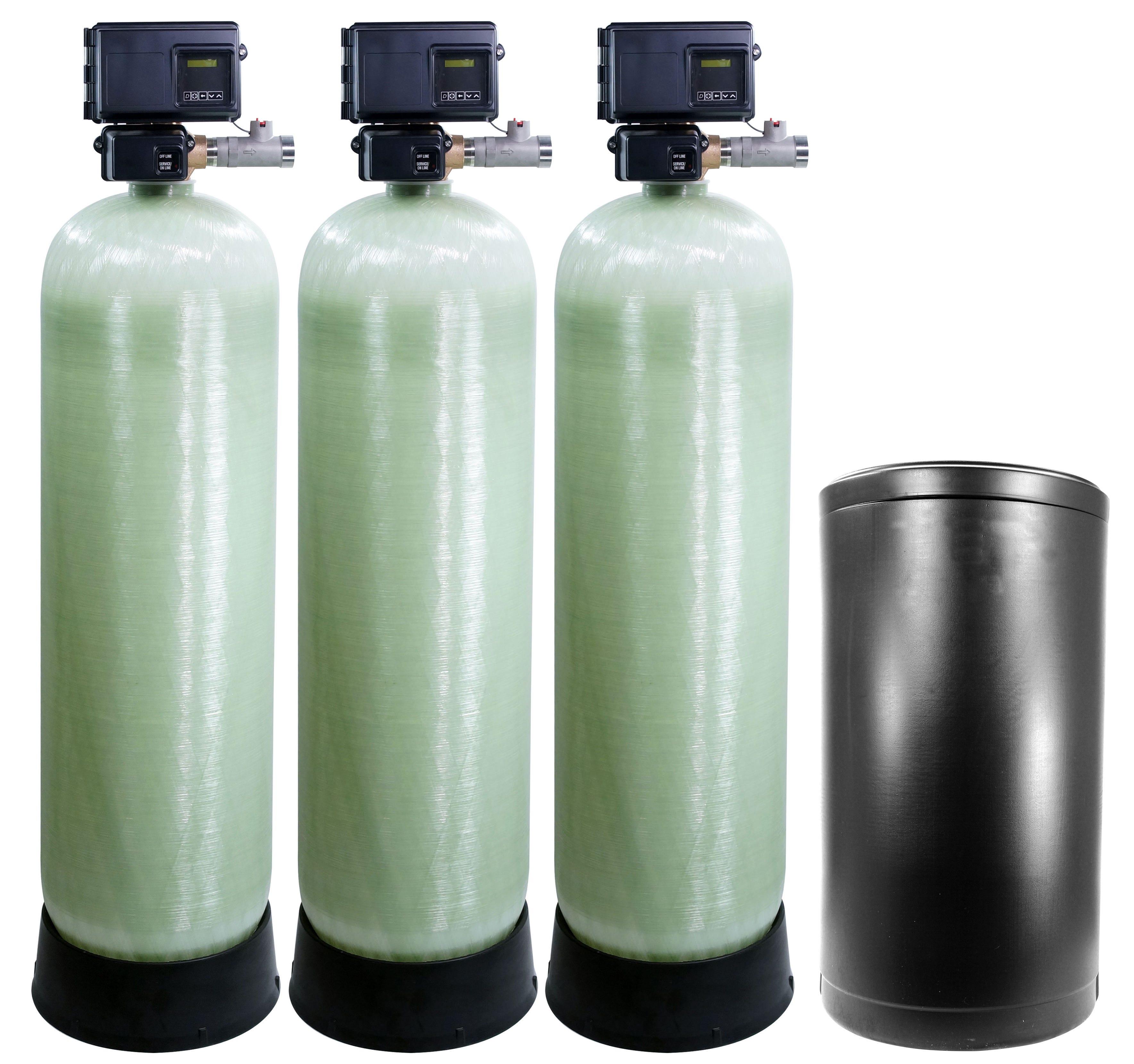 US Water 2 Inch Flow Triplex Tank Metered Softener