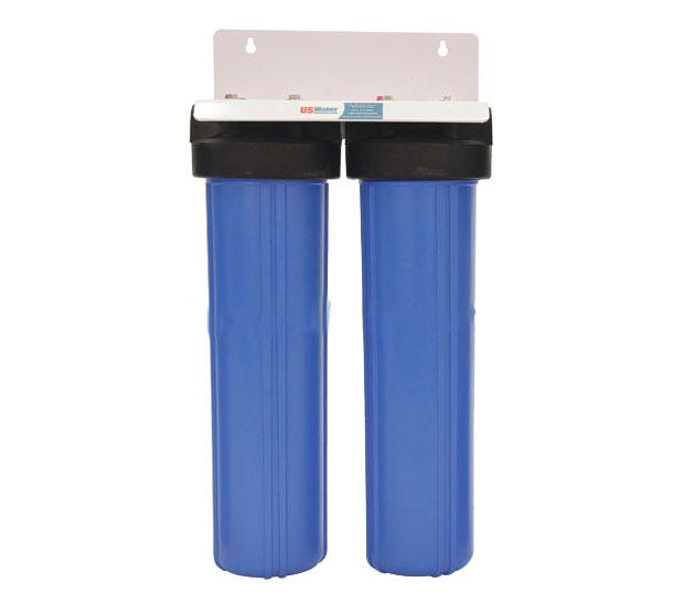 """DUAL BIG BLUE WATER FILTER Housing 4.5 X 20/"""" 1/"""" with PR Bracket and Wrench"""