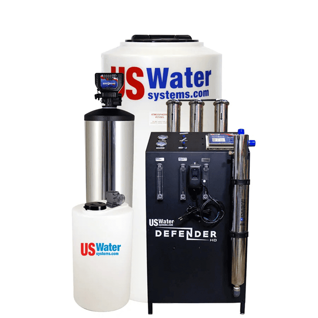 US Water Defender 6000 GPD Whole House RO System - With Permeate Flush, BodyGuard Plus, Anti-Scalant Injection, and 140 Gallon Atmospheric Tank