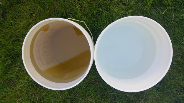 What water looks before and after the use of one of our systems