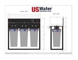 US Water Triple Floor Mount Housing Dimensions