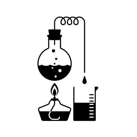 Uma ilustração básica de como funciona a destilação